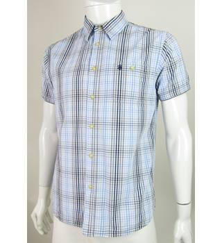 St George by Duffer - Size: M - Blue, Grey & White - Short Sleeved Cotton Shirt