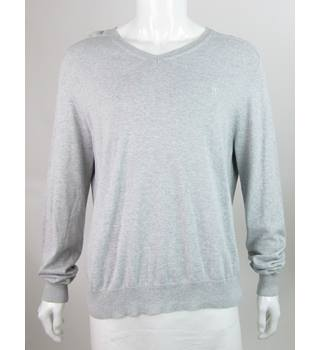 Pringle - Size: XL - Grey - Cotton V Neck Sweater