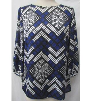 W - Size: 10 - Black, White And Blue Pattern - Blouse