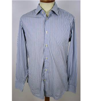 "Hilfiger size 42"" chest  White and Blue Vertically Striped Shirt."