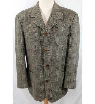 "Obvious - Size: L (chest 44"") - Brown Beige Check - Men's jacket"