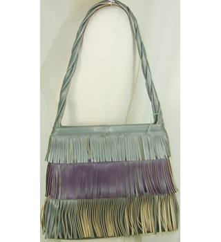 Vanita grey & purple fringed handbag