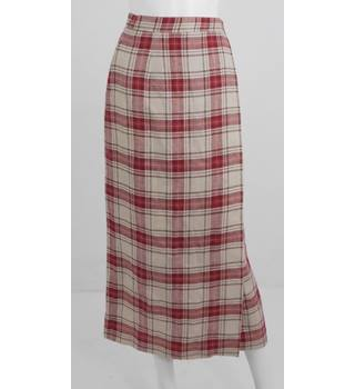 VINTAGE 1990's Laura Ashley Size 10 Red & Cream Checked skirt