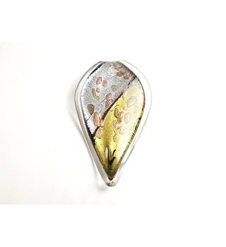 Black, gold, grey, brown & clear leaf Murano glass pendant