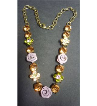 Costume diamante and rose necklace