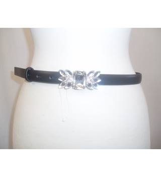 New without tags  M&S Marks & Spencer  Size S  Black synthetic skinny belt with a diamante buckle