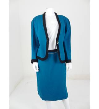 VINTAGE 80's/90's 100% Wool Precis Size 16 Teal Skirt Suit