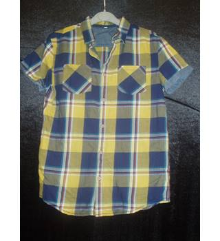 New without tags  M&S Marks & Spencer  Size 13 - 14 Years  Mustard yellow, blue and red short sleeved Madras check shirt