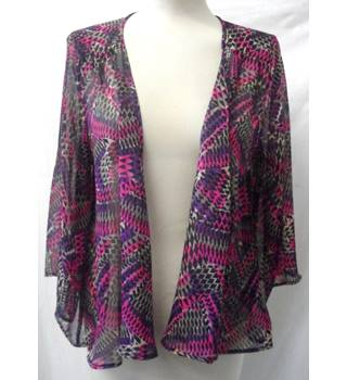 Per Una - Size: 12 - Multi-coloured with Triangular Pattern - Sheer batwing top