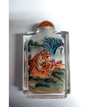 Chinese Glass Reverse Painted Tiger Snuff Bottle Unbranded - Not specified