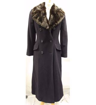 Anne Brooks Petite Size 6 Navy Blue with Faux Fur Collar