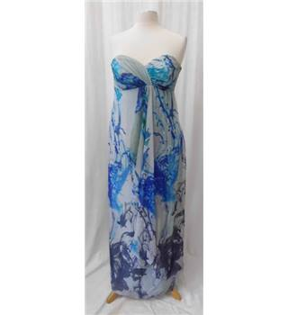 Coast - Size: 12 - Blue, turquoise and purple abstract patterned strapless dress