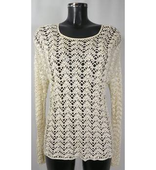 Crocheted Jumper - Cream - Size S (approx. Size 10) Unbranded - Size: S - Cream / ivory - Jumper
