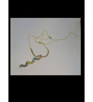 Silver Diamante Rainbow Snake Necklace