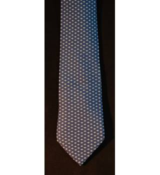 Hermes 100% Silk Tie Blue Fish Pattern 7862 UA