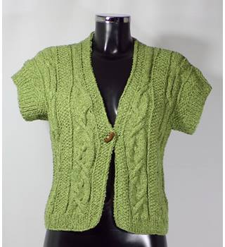 Hand Knitted- Short sleeved Cardigan - Green = Approx size 14