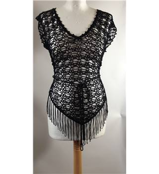 Unbranded - Size S - Black netted & beaded crochet top