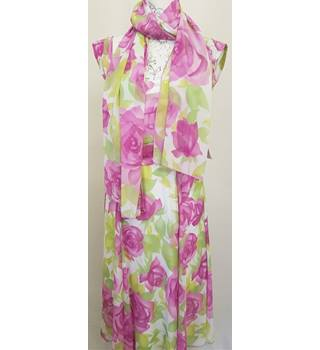 BNWT Michaela Louisa Size 10 white with pink and green floral scarf and dress