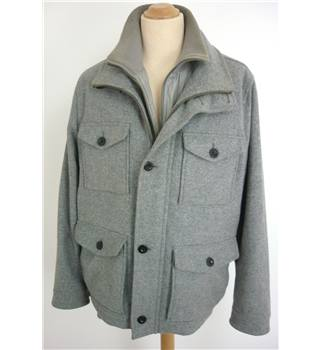 "Lacoste  Size: Large, 42"" chest Grey Mottle Casual/Country Styled Treated Wool Blend Cargo Coat"