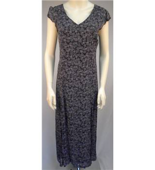 Laura Ashley - Size 10 - Black with Purple Floral Print Maxi Dress