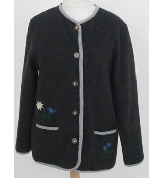 Berwalder - Size: M - Grey embroidered trachten jacket