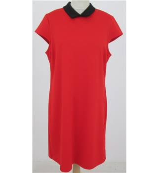 Dorothy Perkins Size: 14 Red knee length dress with black collar
