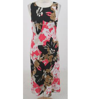Hobbs size 12 pink, black & brown floral shift dress