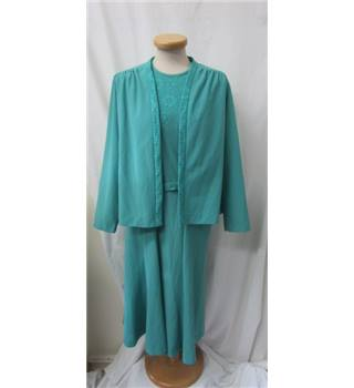 Vintage Norman Linton - Size 18 - Turquoise - Two piece jacket and dress suit