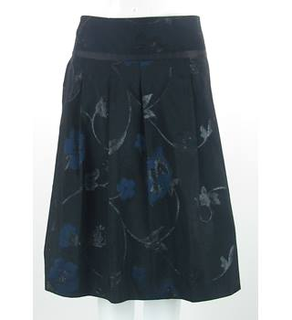 NWOT M&S Autograph - Size 14 - Black with black and blue embroidered flower pattern skirt