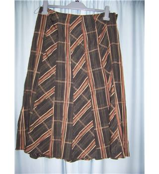 M&S Marks & Spencer - Size: 12 - Dark Brown with pink, Beige and Green Check Long Skirt