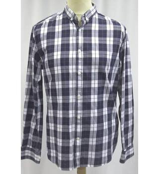 "Selected Homme - Size 42"" chest/ L - Navy Blue and white chequered pattern shirt"
