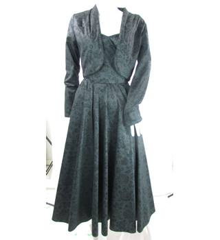 VINTAGE Laura Ashley - Size: 8 - Black Floral Damask Effect - Strapless Dress With Matching Jacket