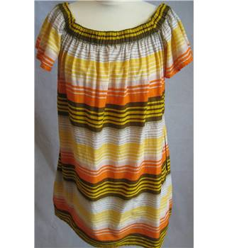 French Connection Size 12 Yellow, orange and Brown Horizontally Striped Bardot Smock Top