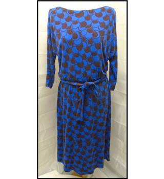 Boden size 14 blue and brown patterned dress