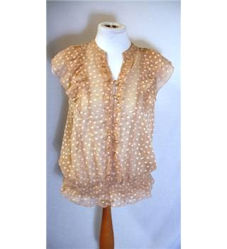 Oasis - Size 8 - Beige - Sheer - Sleeveless Top