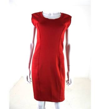 French Connection Size 10 Red Knitted Bandage Dress