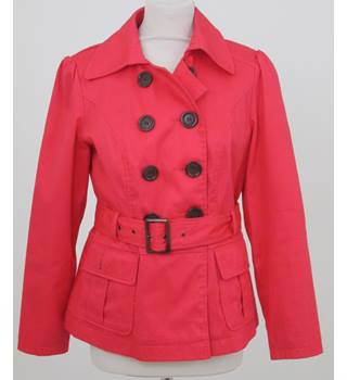 M&S Marks & Spencer - Size: 12 - Hot Pink - Double Breasted Pea Coat