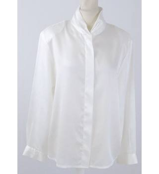 1980 s  Eastex  size 12  white satin blouse - ditsy weave
