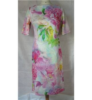 Joanna Hope - Size: 10 - Pink with white/pink/green floral print dress