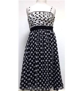 Coast Size 10 Black And White Spotty Strapless Dress
