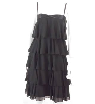 Coast Size 8 Black Beaded Tiered Jumper Dress