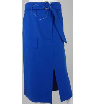Marks & Spencer Collection Cobalt Calf-Length Skirt UK Size 20 / Euro Size 48