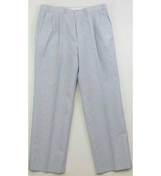 "M&S St Michael - Size: 36"" waist (to fit) Navy, white and yellow fine striped trousers"