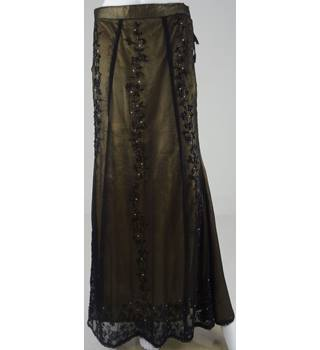 Hand Made Black/Gold Beaded Long Skirt Size 10