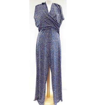 Per Una - Size: 12 - Navy and Brown Patterned Jumpsuit