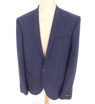 "BNWoT Noose & Monkey Size: M, 38"" chest, slim fit Dark Navy Blue Texture ""Twisted Tailoring"" Stylish Single Breasted Jacket"