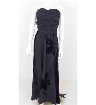 Vintage 1950s Circa Size XS Black Floral Velvet and Satin Dress