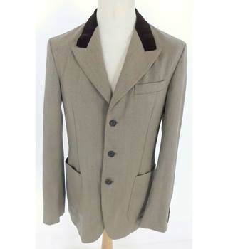 "Alexander McQueen Size: M, 38"" chest, trld fit Olive Green Grey Stylish Wool Blend Single Breasted Jacket With Moleskin Collar"