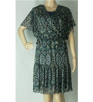 "BNWT - Kookai - Size 36"" bust (Kookai Size 2)  - Green and brown abstract pattern dress"