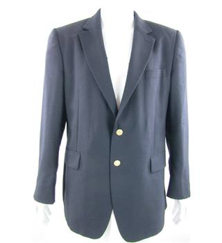 "Jaeger - Size 44S"" chest - Navy Blue Single Breasted Suit Jacket"